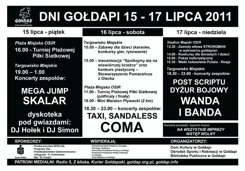 Program obchodów Dni Gołdapi