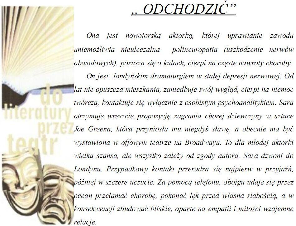 """Zaproszenie na TEATR PRZY STOLIKU pt. """"ODCHODZIĆ"""""""