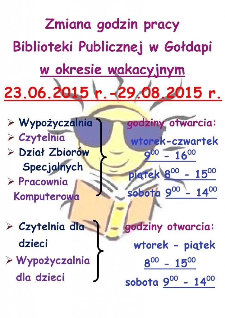 Zmiana godzin pracy Biblioteki Publicznej w Gołdapi w okresie wakacyjnym _1