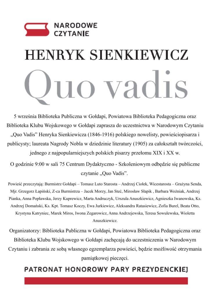 """Narodowe czytanie - """"Quo Vadis""""_2"""
